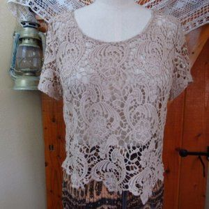 AMBIANCE Tan Beige Cotton Crochet Lace Top NWOT
